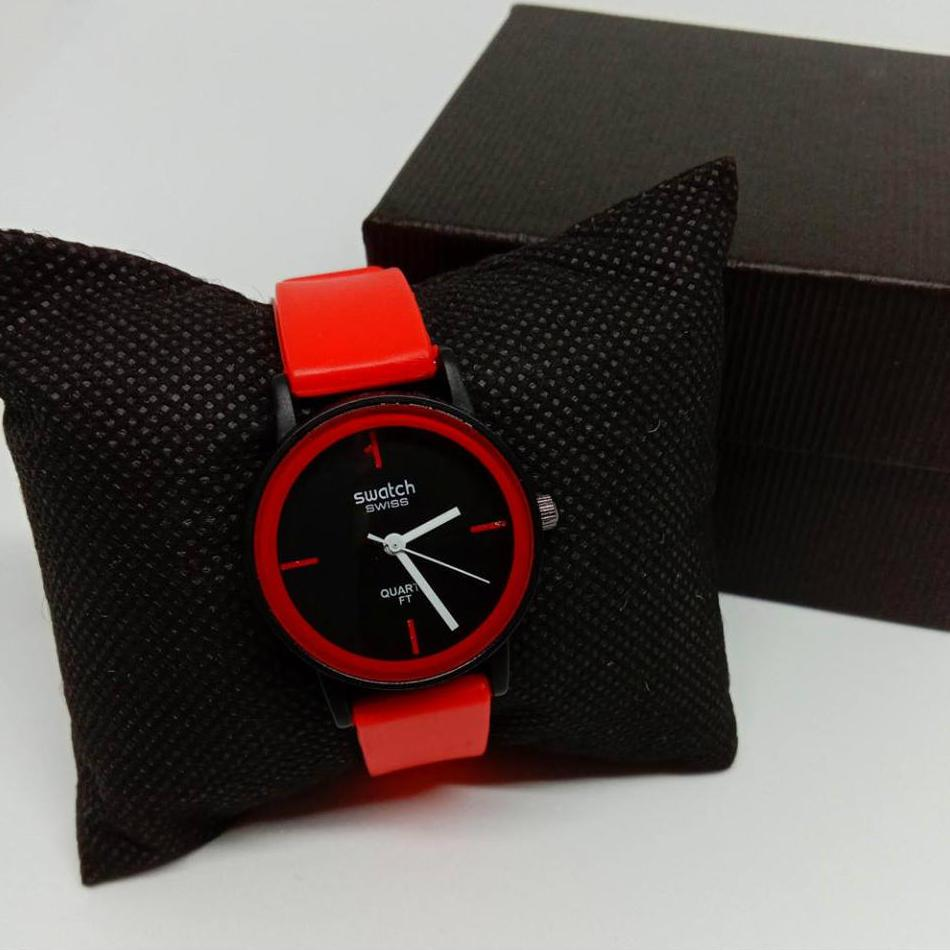 Swatch Swiss Quartz Ft Rubber Strap For Women Watch (RED)