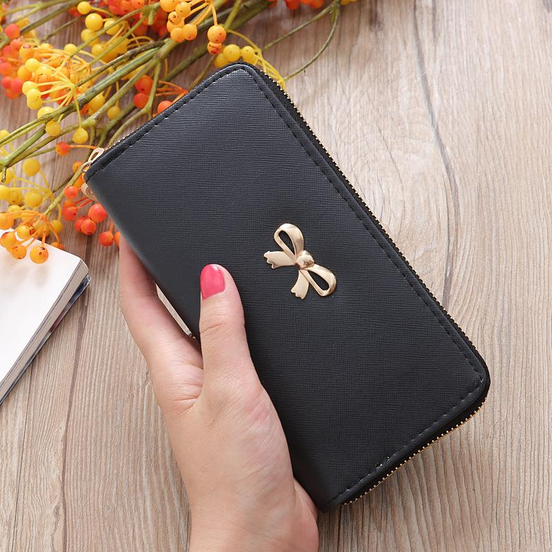 AMOG Forever Friend Ribbon Long Wallet With Zipper Card Holder Korean Style Zipper Wallet
