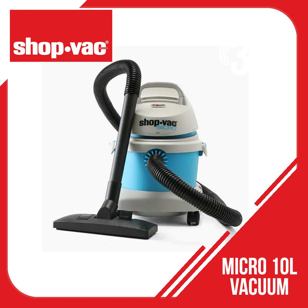 Genuine Shopvac Micro 10L Wet and Dry Vacuum Cleaner (Gray/Blue) SV-589-0320 - original Shop-vac unit - sucks allergens, dust, and dirt. For home, kitchen, garage and vehicles. Cleans lint on clothes, sofa, carpet, windows, rugs, curtains