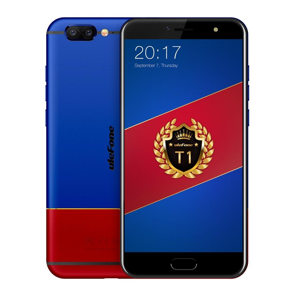 "Ulefone T1  Android 7.0 5.5"" FHD Global Version Dual Camera Front Fingerprint 4G Phone with 6GB RAM 128GB ROM - Blue Red/Black(US plug)"