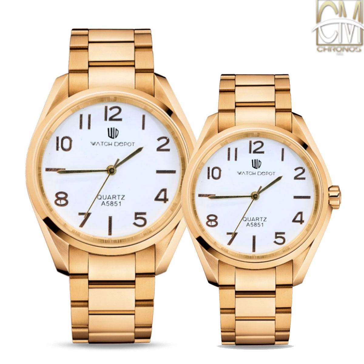 Chronos MNL WD-A5851 Analog Couple Watch Stainless Steel Gold/White