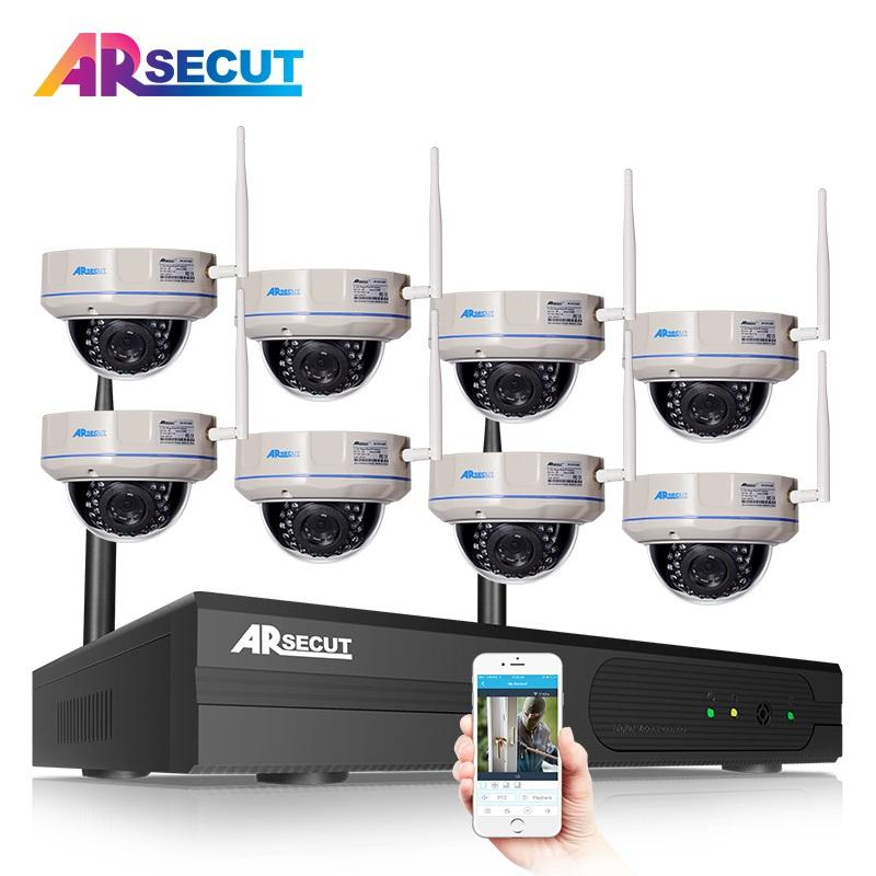 ARSECUT 8CH NVR Wireless CCTV System 960P HD IR Night Vision Dome Security IP Camera WIFI Surveillance System