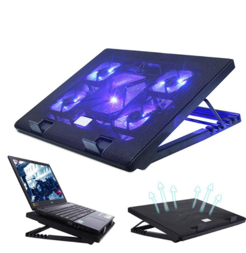 Laptop Cooling Pad 12-17 Inch Gaming Notebook Laptop Cooler Cooling Pad with 5 Quiet Led Fans Laptop Cooling Fan Stand 2 USB 2.0 Ports Adjustable Mounts Laptop Stand Height Angle
