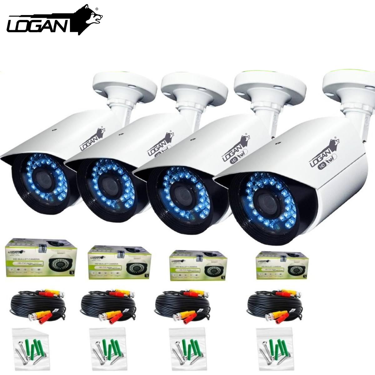 Logan LBX1M HD-TVI Night Vision CCTV 720p Weatherproof Proof 4Pcs Metal Bullet Cameras with 60ft Video Cable (White)