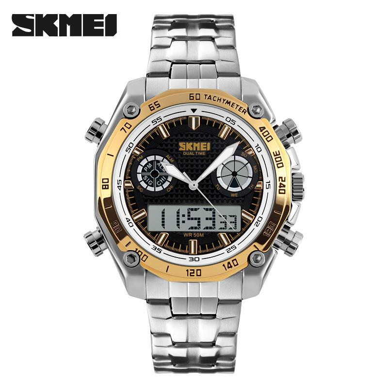 Skmei Trend of Fashion Dual Display Sports Men's watch watches Cool Big Dial Men Waterproof Students Electronic watch watches 1204