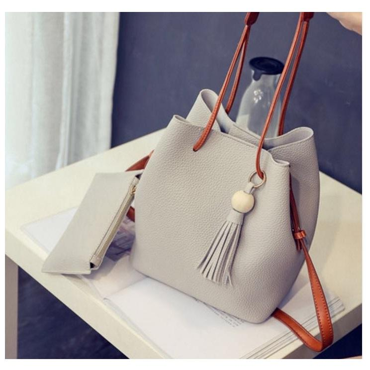 Isabel K009 Bucket Bag with Matching Coin Purse (Nude)