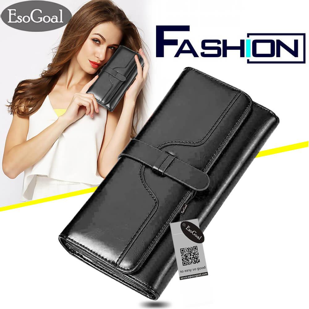 EsoGoal Women Large Capacity Leather Purse Clutch Wallet Tri-fold Checkbook with Phone Pocket