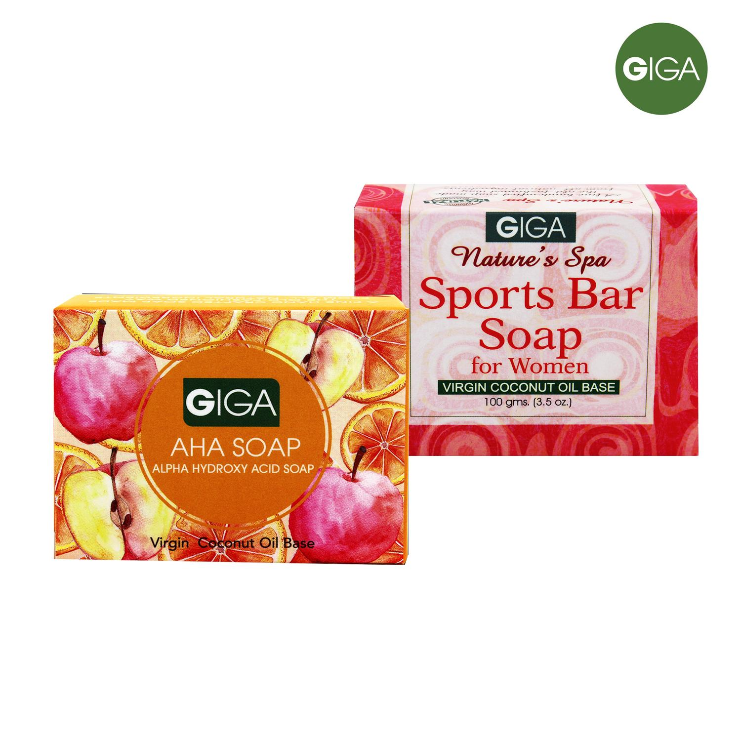 Giga Assorted Soap (AHA Soap/Sports Bar for Women) 100g Set of 2