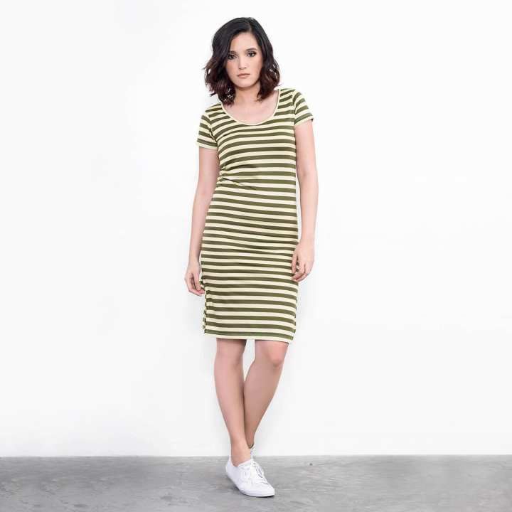 BLACK SHEEP Fitted Stripe T-Shirt Dress with Side Slit in Army Green