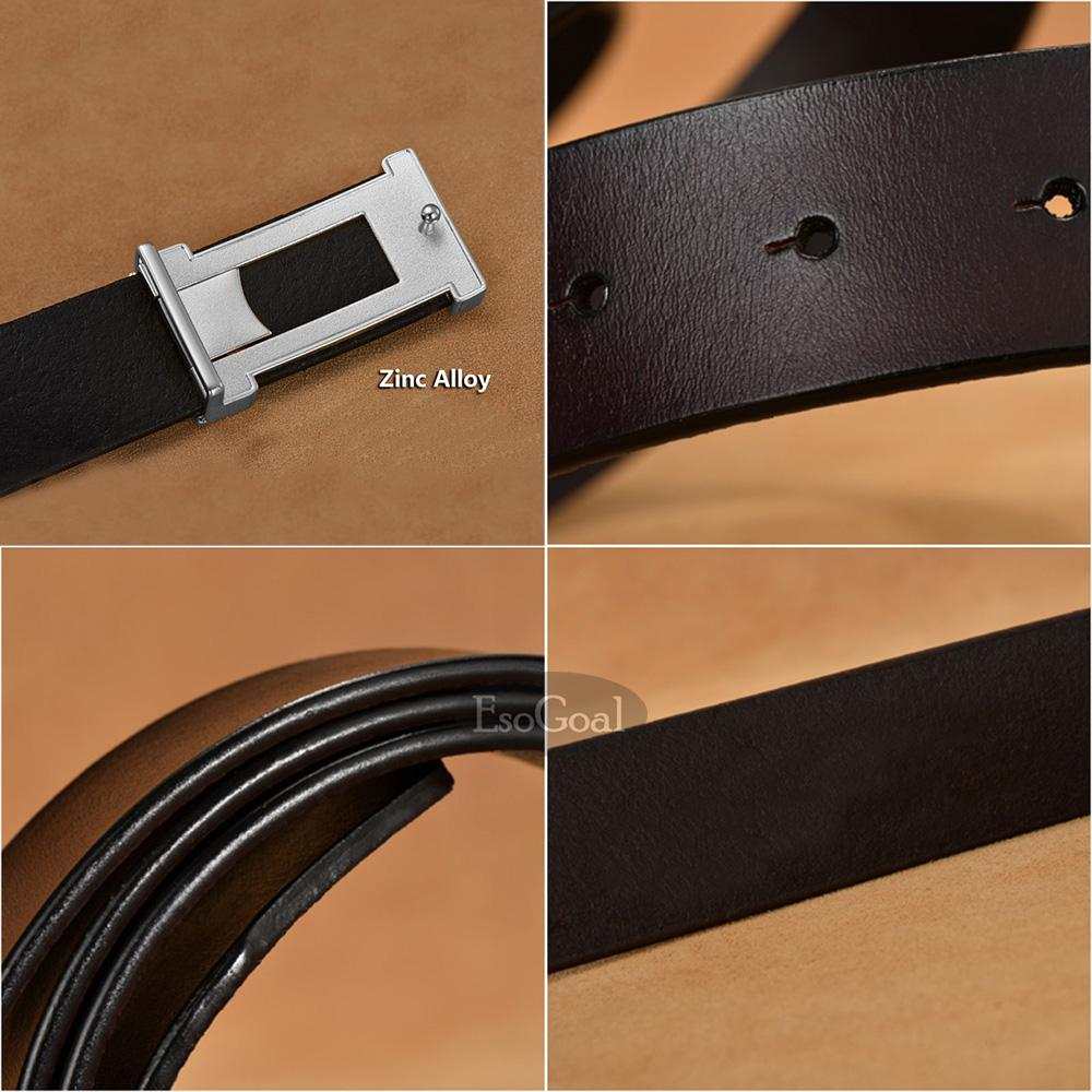 EsoGoal Men H Reversible Business Casual Leather Belt With Removable Buckle Black&Silve 120cm .