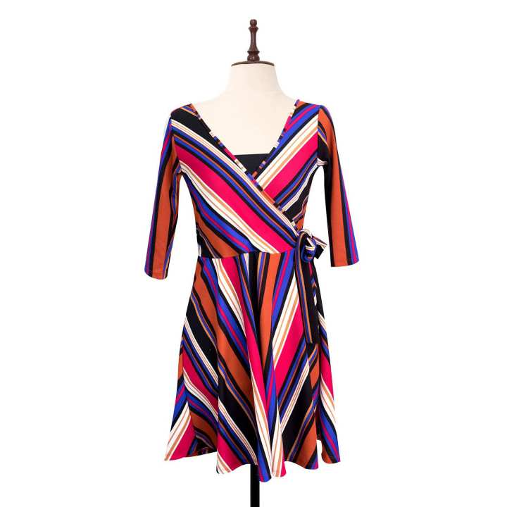 BLACK SHEEP Retro Stripe Surplice Dress Wrap Dress w/ Bandeau