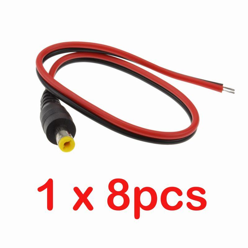 1x 5.5mm x 2.1mm DC Power Male Jack Pigtail Cable Connector CCTV Security Camera