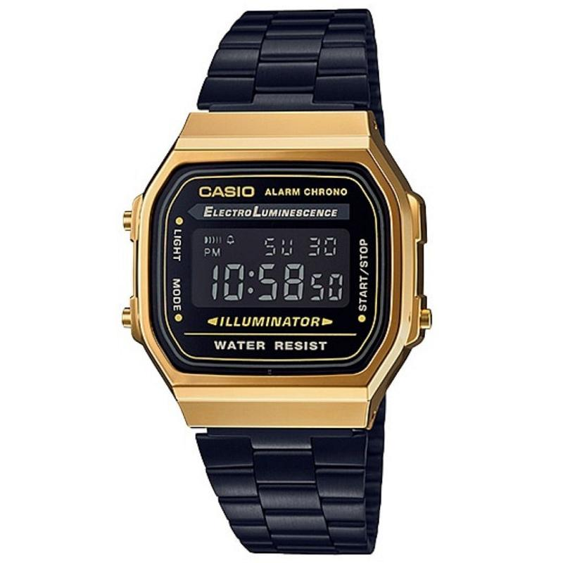 Casio Vintage Black Stainless Steel Watch For Men and Women- A168WEGB-1B