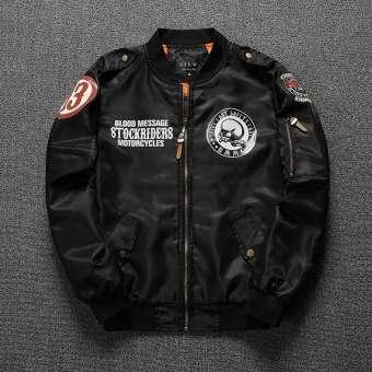 เสื้อเชิ้ตแจ็คเก็ตคอเสื้อแบบตั้งผู้ชาย ลายดอก ทรงเข้ารูป สไตล์เกาหลี (สีดำ) (สีดำ)
