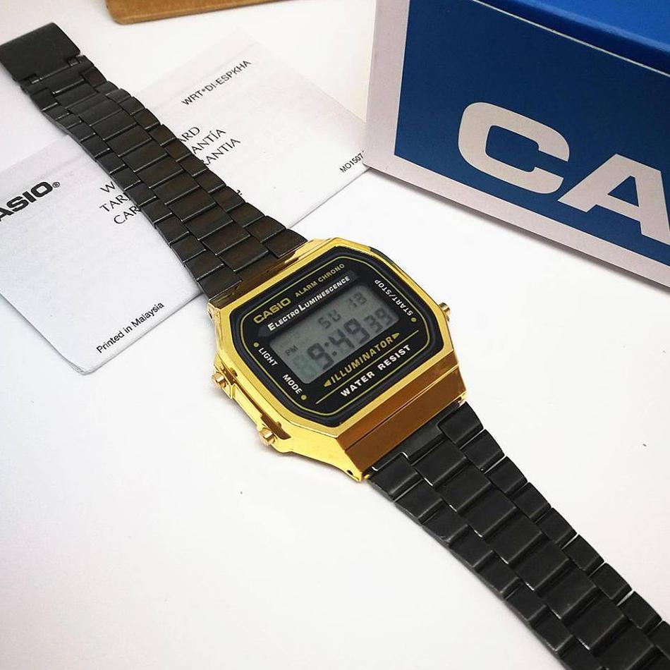 Casio A168 Digital Gold Black Coated Stainless Steel Watch