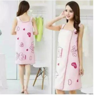 Women Bathrobe Bath Towel Soft Wearable Quick Dry Dressing Gown Skirt OK