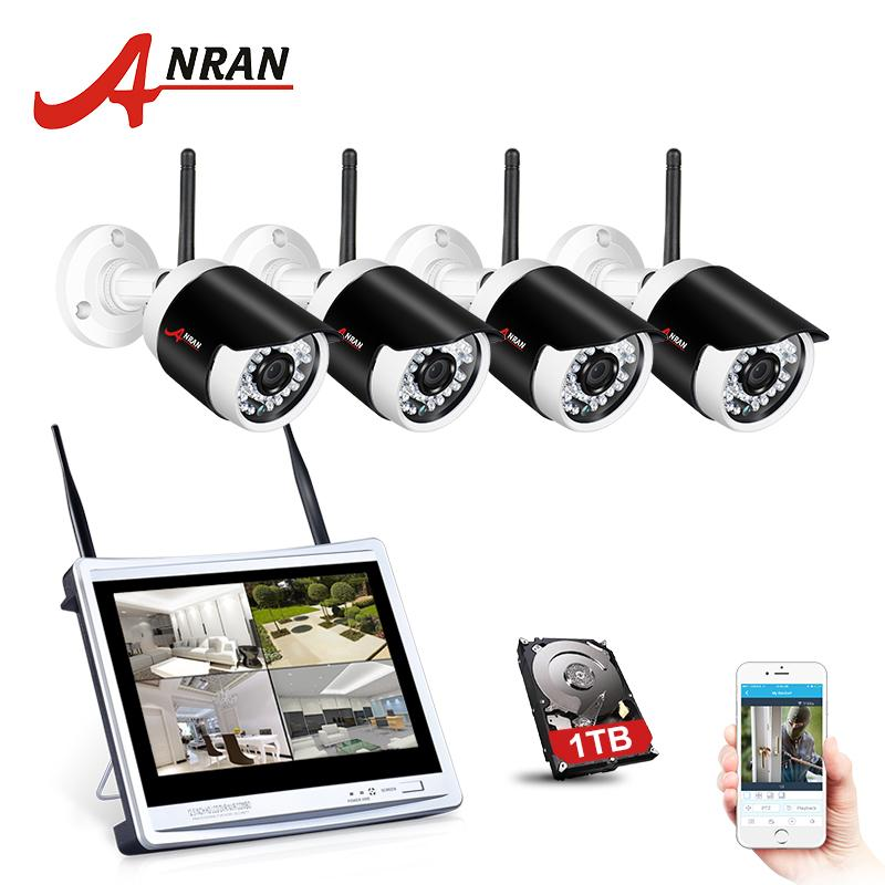 ANRAN 4CH Wifi CCTV System 12 Inch LCD NVR P2P 960P HD IR Night Vision IP Camera Outdoor Security Camera System
