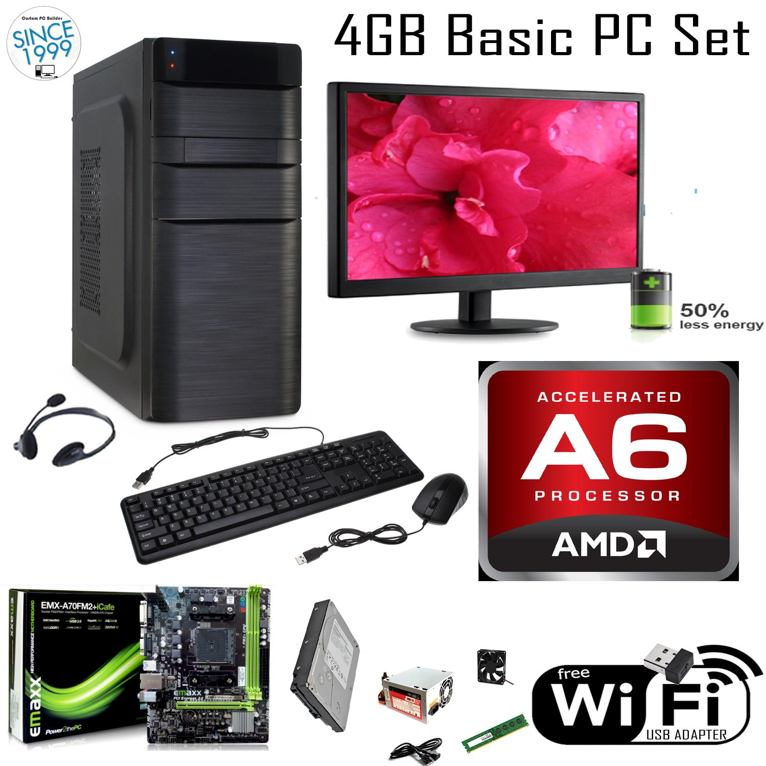 X-PC 15.6 LED, AMD A6-7400k Kaveri 3.5GHz. ATI R5. WiFi Ready. Emaxx EMX-A70FM2+ICAFE, AOC 15.6 LED. 4GB DDR3 1333Mhz (2x2GB), 320GB Hitachi SATA OEM. ATX 700w, Free: Keyboard, Mouse, Headset, 80mm Fan, USb WiFi Adapter.