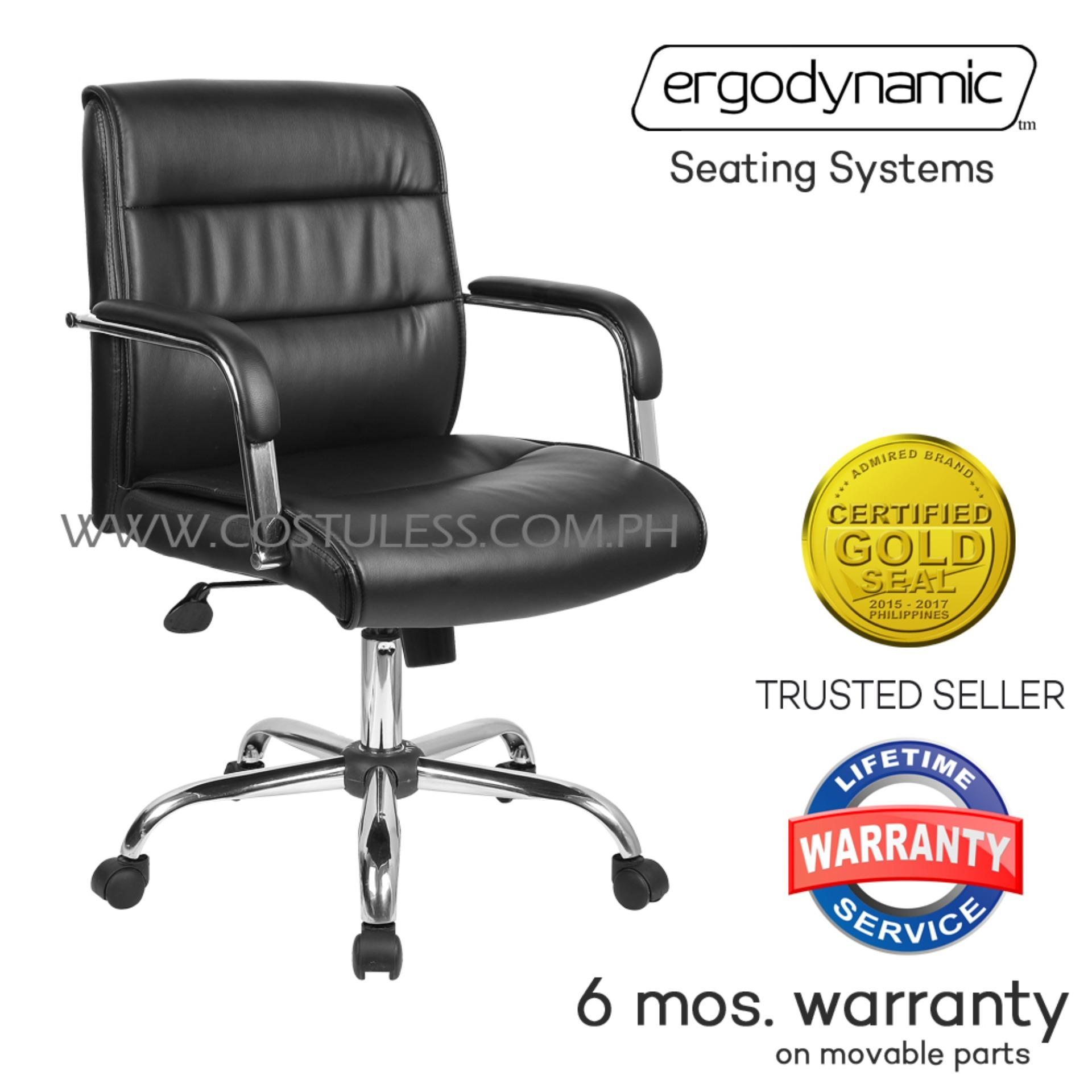 Ergodynamic MBC-159 Faux Leather Mid Back Office Chair (Black)