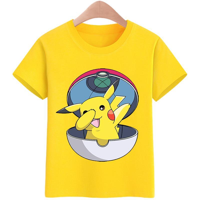 Summer Pokemon Pikachu T shirts Kids Boys Girls Casual T shirts Tops Clothes Kid