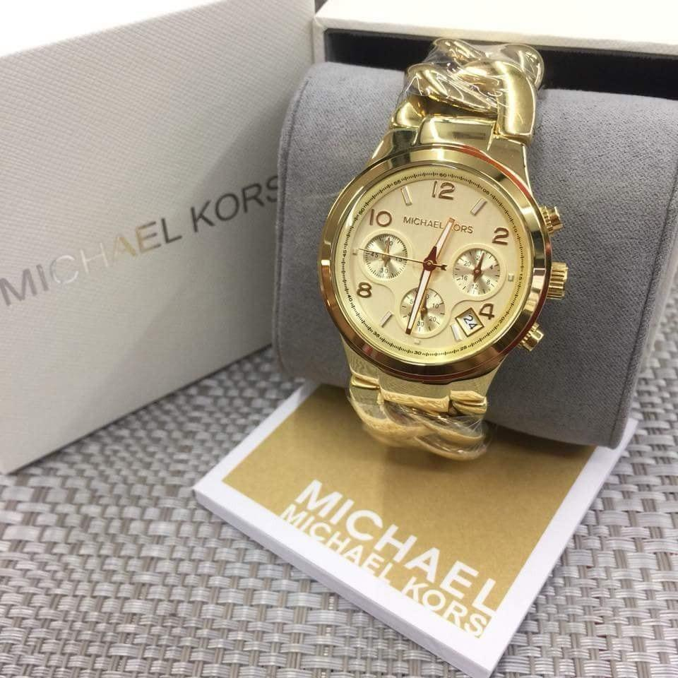 Michael Kors Runway Chronograph Midsize/Gold  Twist Chain Link MK3149
