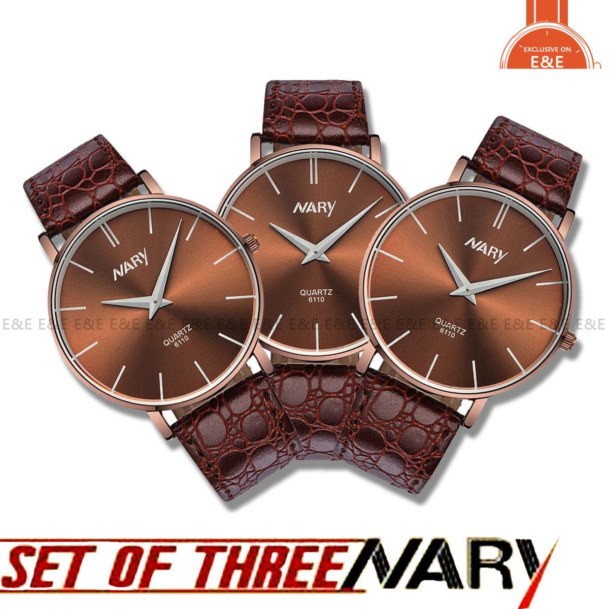 E&E Women's Ultrathin Brown Leather Strap Watch 6110 (Set of Three)