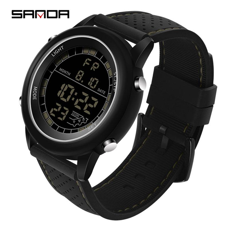 SANDA 411 Waterproof Fashion Luminescence Digital Watch s-shock Fashion Watches Men Sport Outdoor Military Young Men's Watch  Silicone Strap Outdoor Sports Multifunctional Dual Display Noctilucent Watch