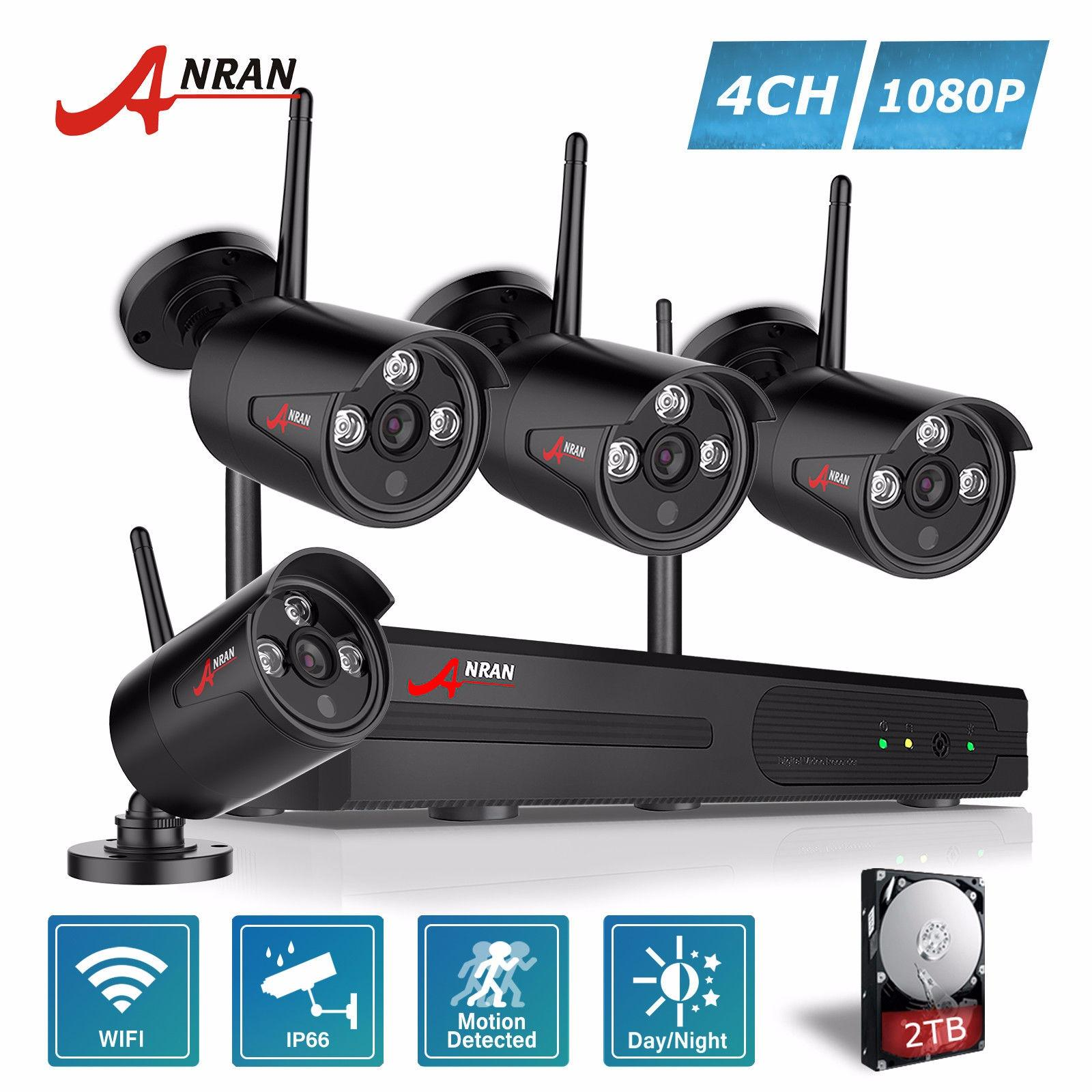 ANRAN 4 Channel HD 1080P Wireless Network/IP Security Camera System 2.0 Megapixel Wireless Indoor/Outdoor IR Bullet IP Cameras