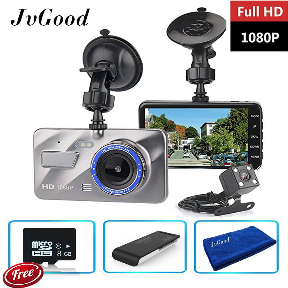 "JvGood Dual Lens Car Camera Dash Cam Car Dashboard Camera 4.0"" Screen FHD 1080P Vehicle On-dash Video Recorder Camcorder Front and Rear Dash Cam with 8GB Micro sd card Card reader Microfiber towel"