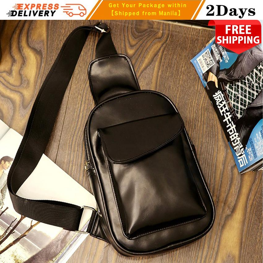 Chest Bag MEN Anti-theft Clasp Leather Bag Messenger Bag Fashion Men's Bags 366