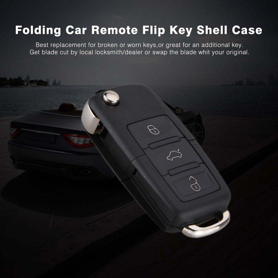 OSMAN Folding Design Car Remote Flip Key Shell Case Fob 3 Buttons For Volkswagen