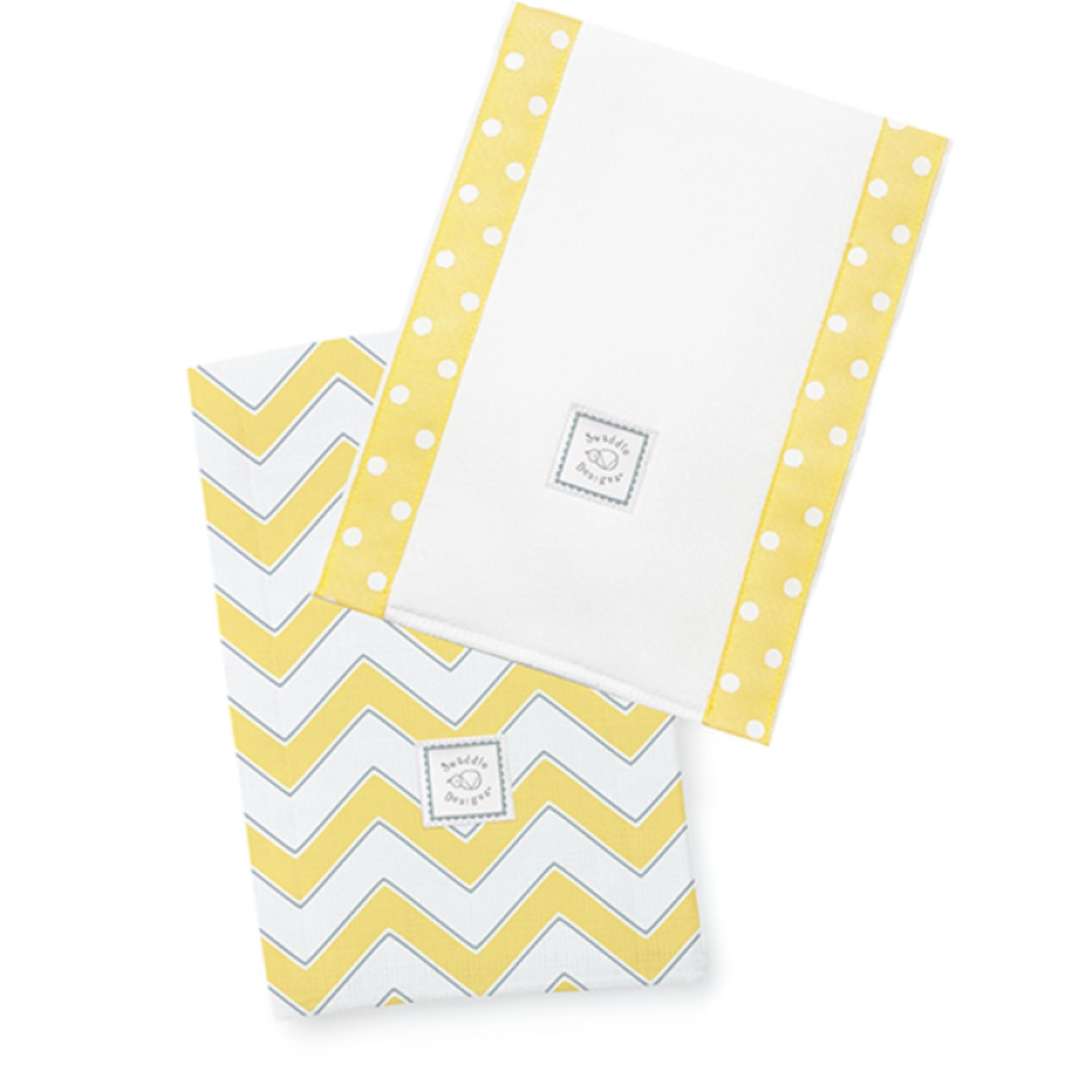 Swaddle Designs Chevron Baby Burpies Set of 2 (Yellow)