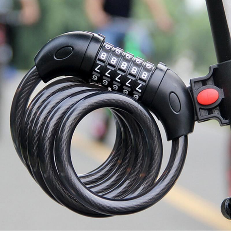 5 Digit Combination Bicycle Chain Lock Code Lock Black Steel Cable Security Lock