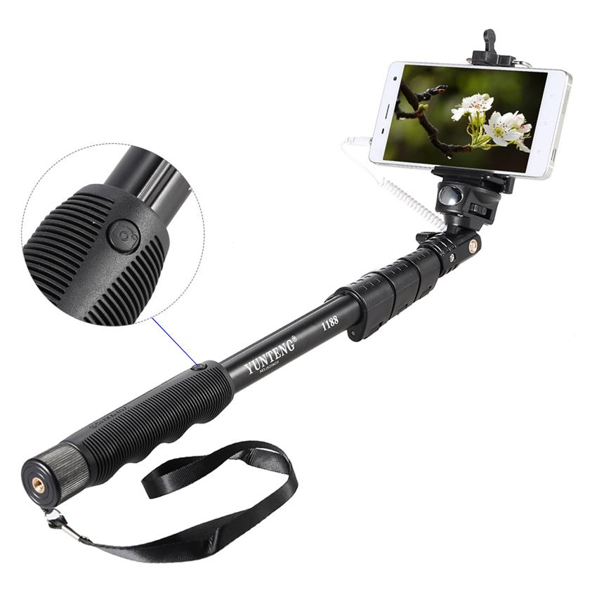 Yunteng YT-1188 Wired Selfie Stick Monopod with Cable and Built-in Remote Shutter YT1188 for Android and iPhone (Black)