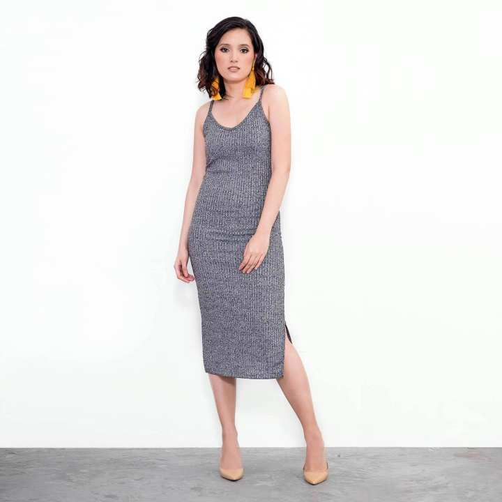 BLACK SHEEP Midi Dress in Ribbing w/ Spaghetti Straps in Gray