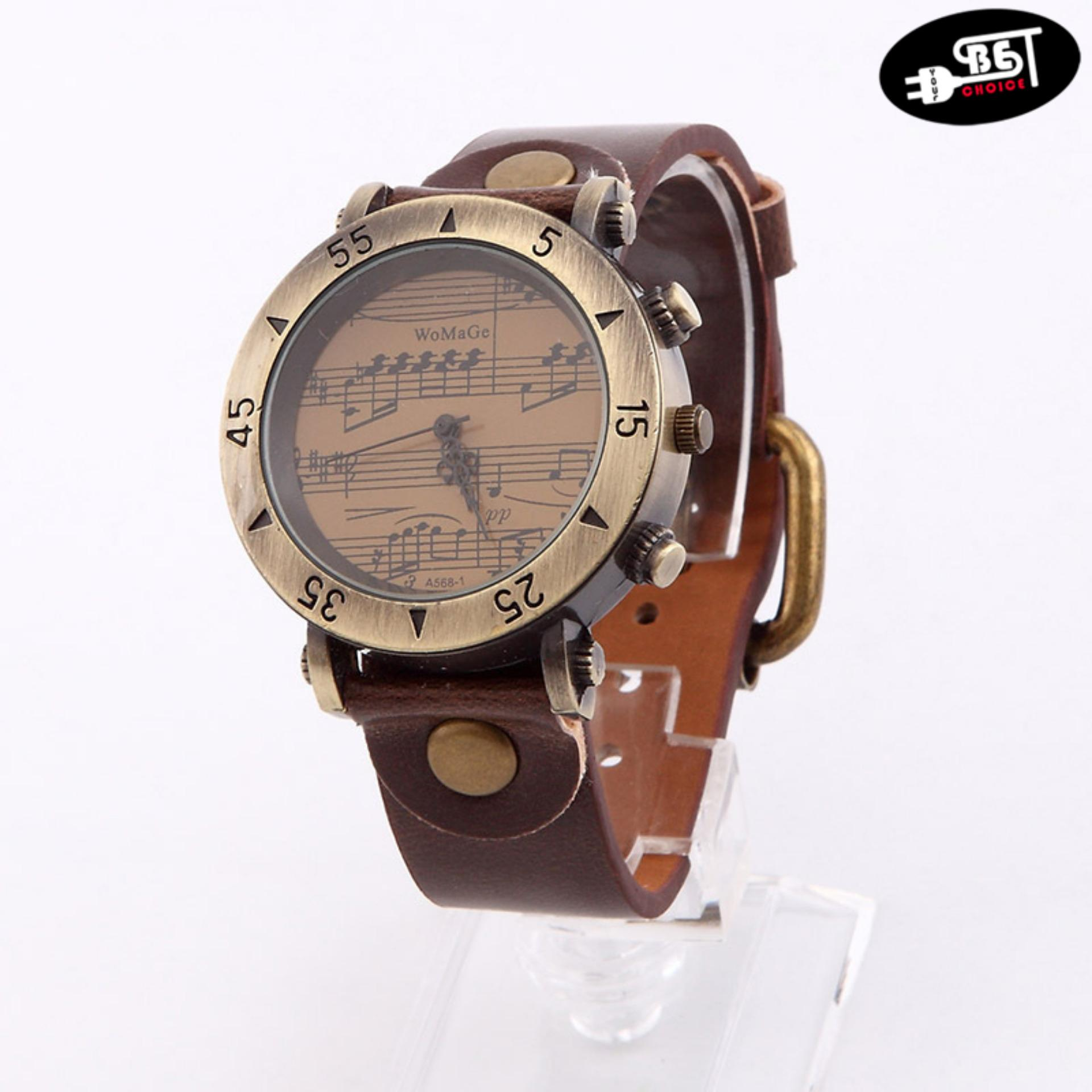 Unisex Musical Notes Wristwatch Retro Bronze Waterproof Quartz Wrist Watch (Brown) - thumbnail