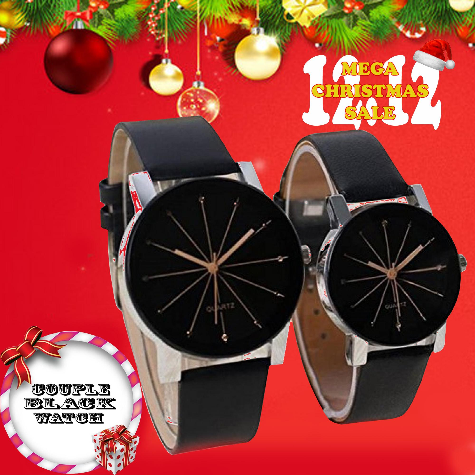 Couple Black Leather Strap Watch (Black)