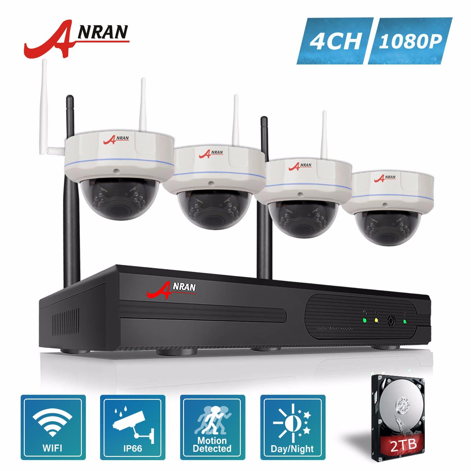 ANRAN 1080P 4CH Wireless NVR System with 4 Outdoor Indoor WIFI 1080P IP Cameras IR Dome Camera Plug and Play