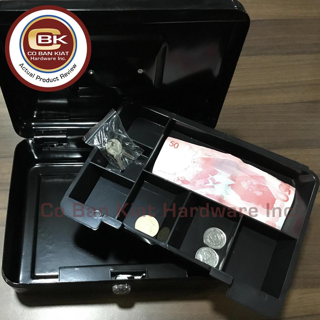 Safewell SF-YFC-25 Powder Coating Cash Box (Black) - versatile money box that fits Philippines bills and coins - anti rust and peeling resistant finish. Lightweight and Portable. It comes with 2 keys for added security. One removable tray.