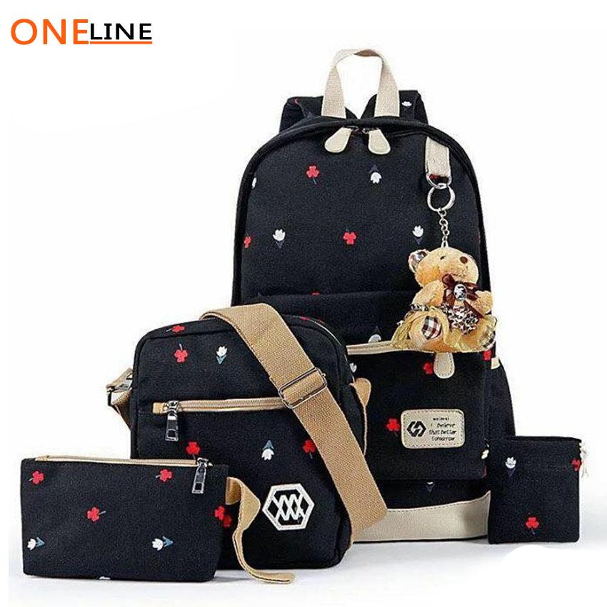 Oneline 005 4 in 1 Fashion Teen Canvas School Backpack Set