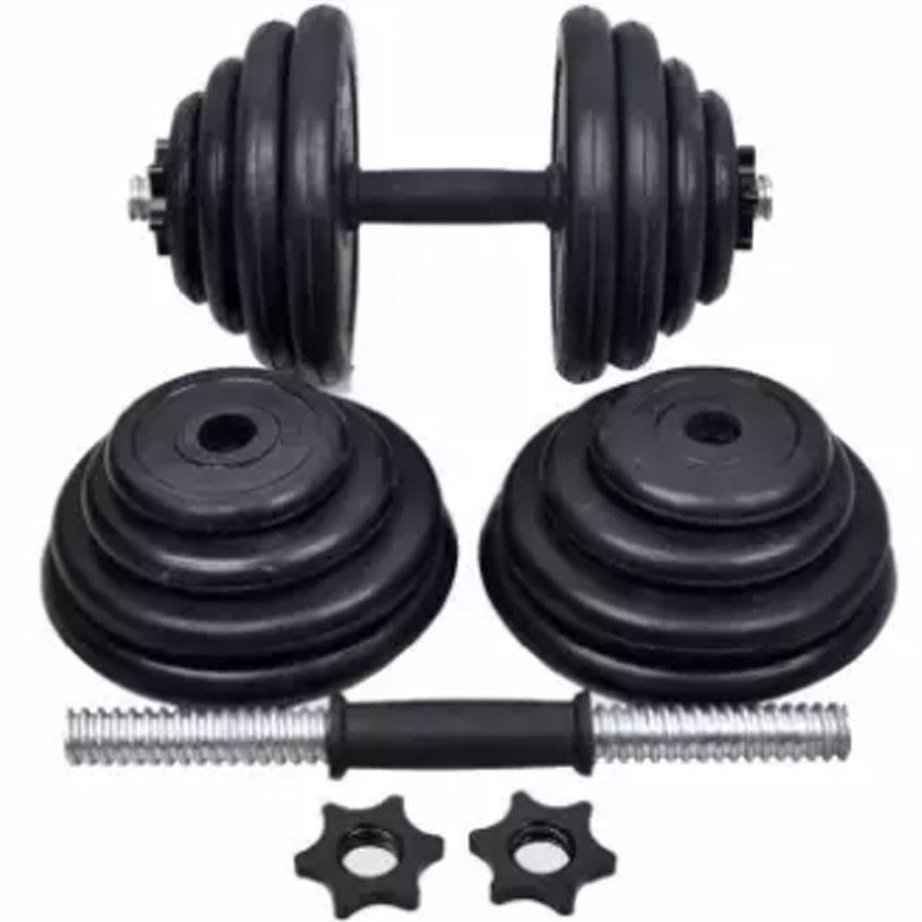 30KG pair Gym Black Rubber Dumbbell Set image on snachetto.com
