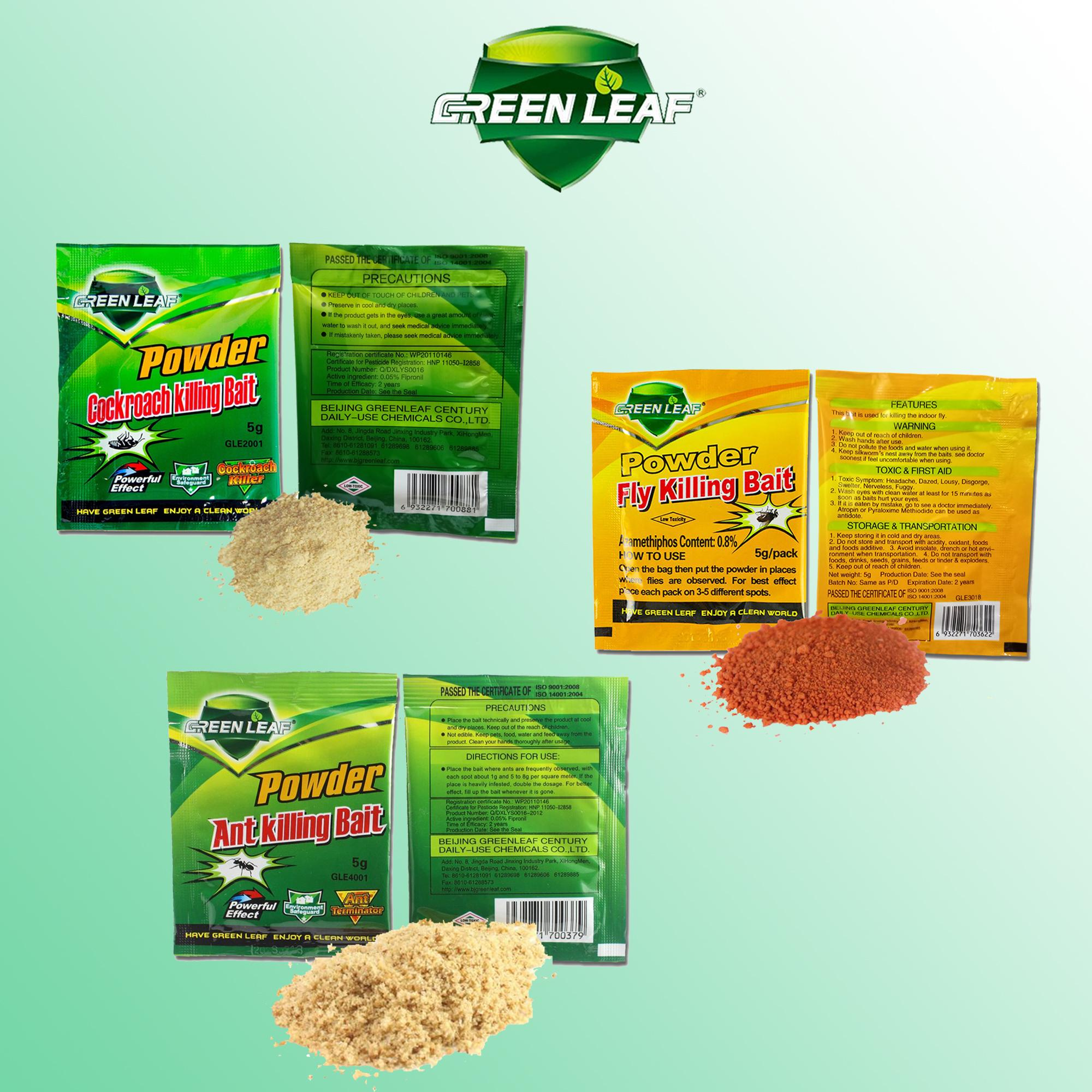 Effective Green Leaf Powder Cockroach, Ant, Fly Killing Bait-- Pests, insect and bugs killer insecticides pesticides, trap (1 PIECE of your choice) image on snachetto.com