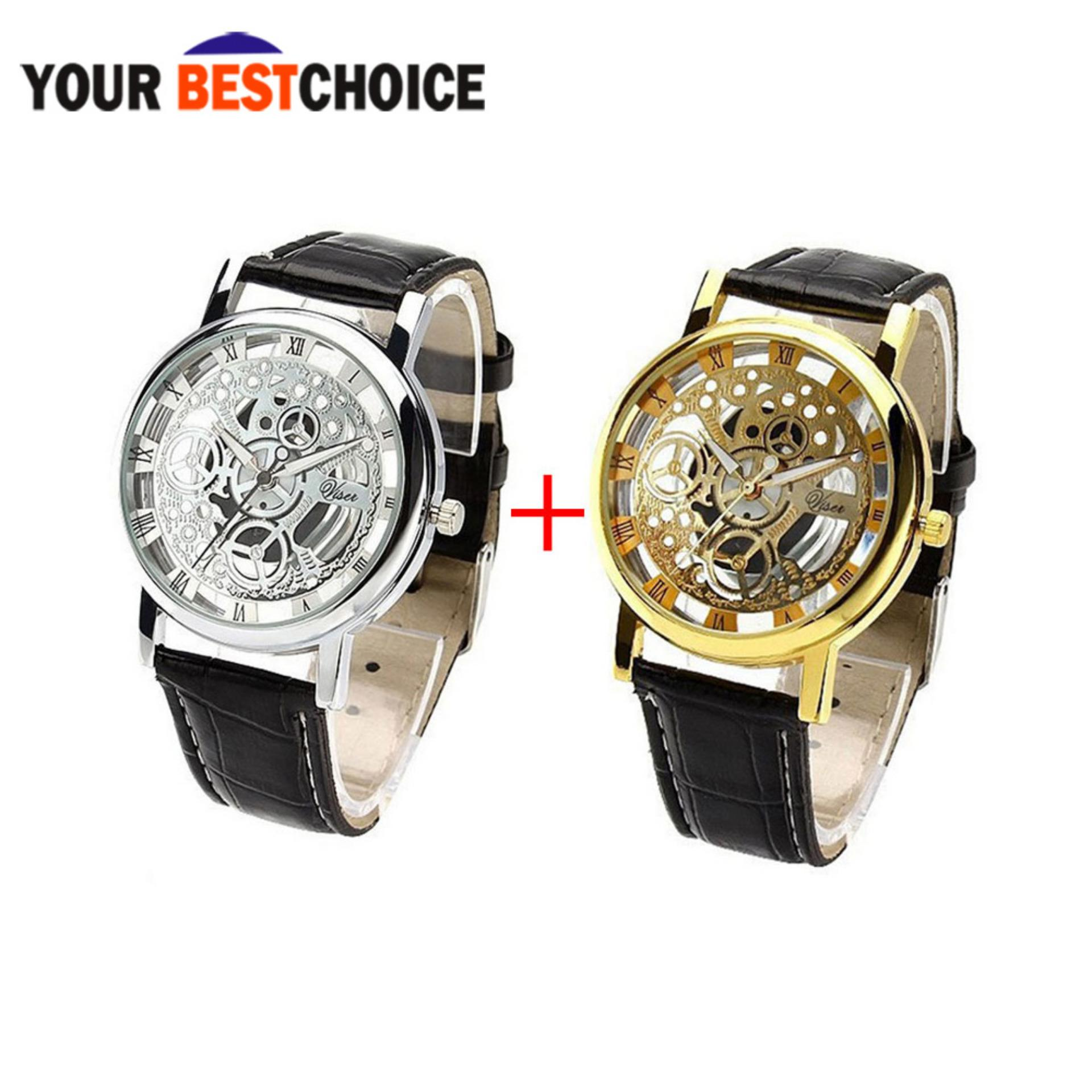YBC 1 Pair Fashion Non Mechanical Hollow Couple Watch With Imitation Leather Band Strap Black product preview, discount at cheapest price