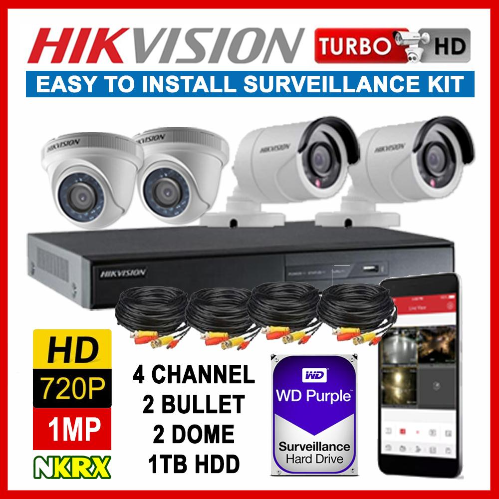 HIKVISION 4CH 1MP 720P 4 Channel Turbo HD CCTV Kit Package W/ 1TB Surveillance HDD - 4 Camera