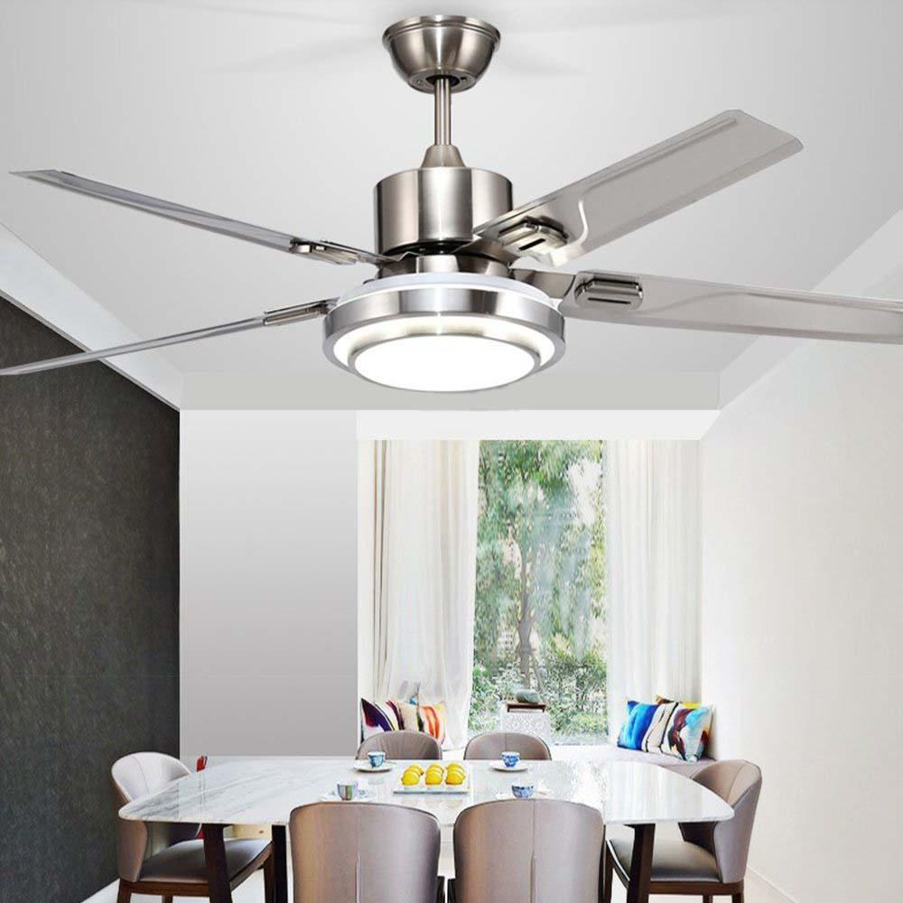 Kruzo Yuhao Modern Ceiling Fan With Acrylic Led Light Remote Control 48 Lazada Ph