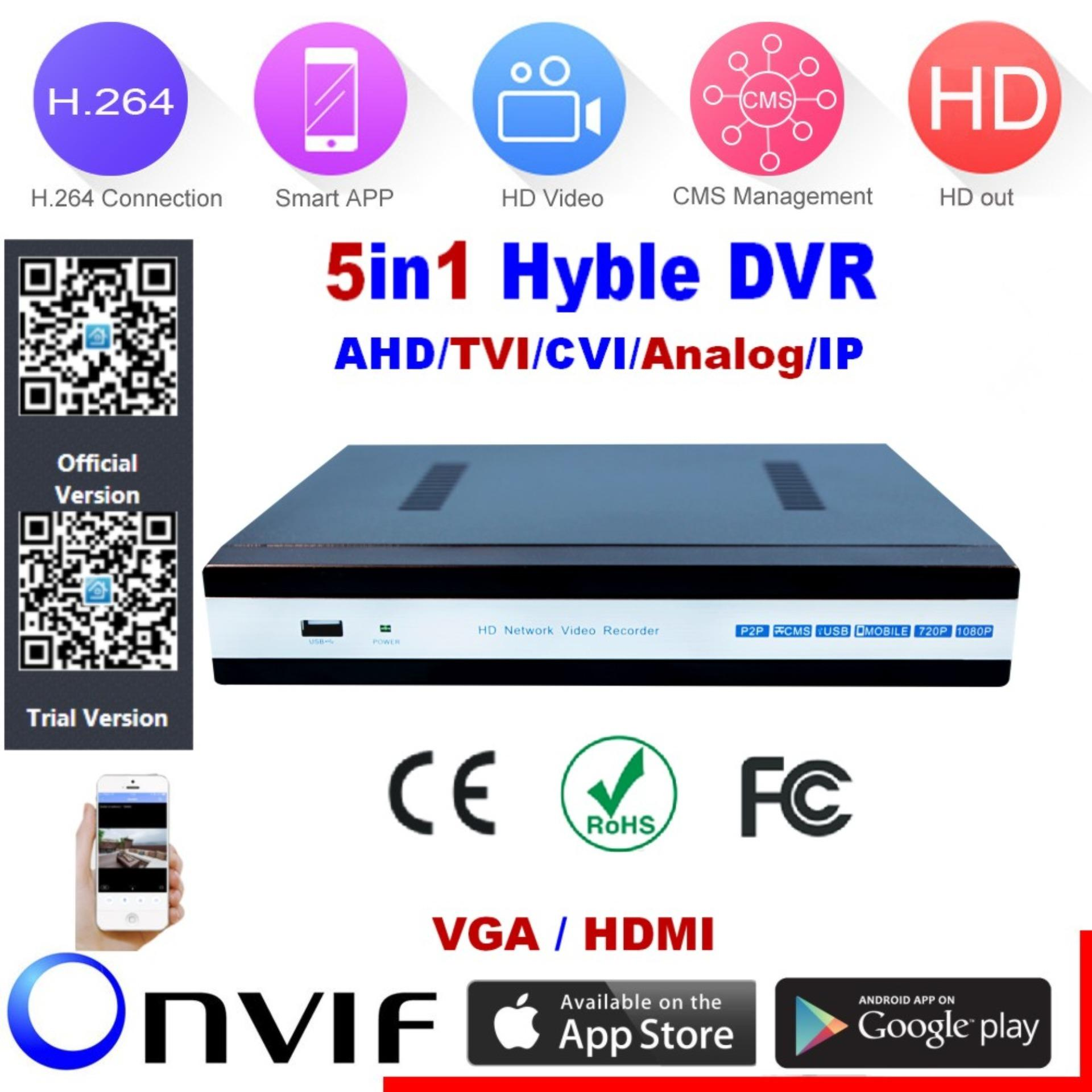 HanJia H.264 8Channel Full 1080N/720P@25fps 5in1 Hybrid DVR(AHD/TVI/CVI/analog/IP) HDMI/VGA P2P Cloud support 1 hard disk interface Android/iOS APP Free CMS Browser View Motion Detection Email Alarm PTZ for CCTV Security Camera Surveillance System
