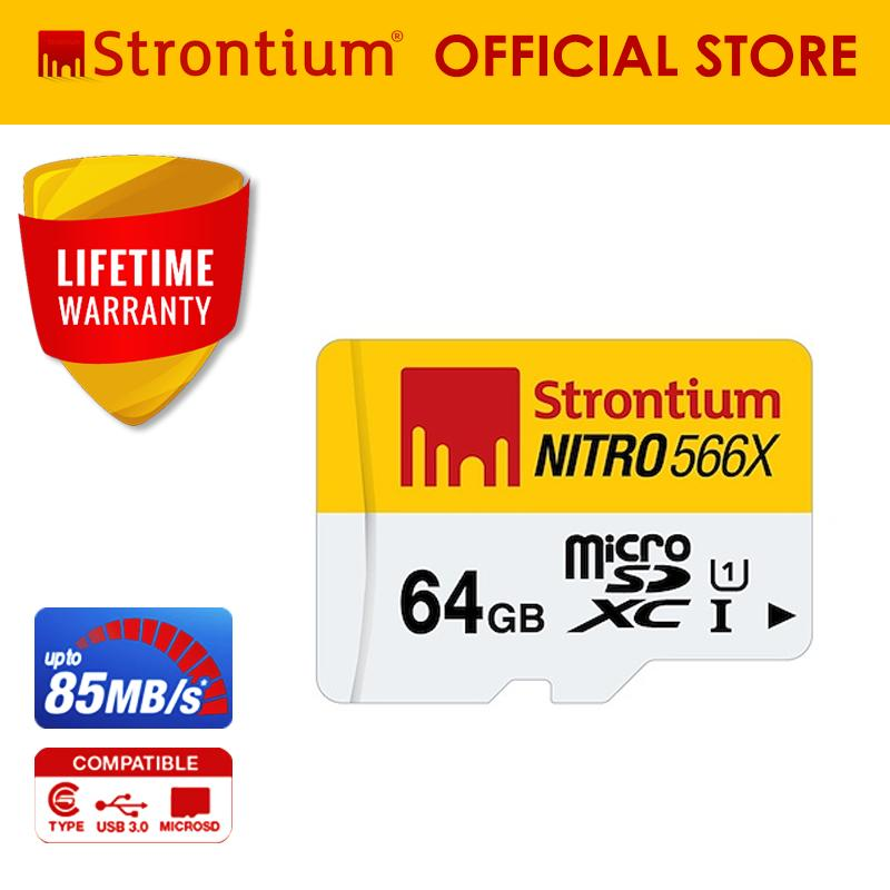 Strontium Nitro SRN64GTFU1R 64GB 566x Micro SDXC Card Class 10 (Speed up to 85MB/s)