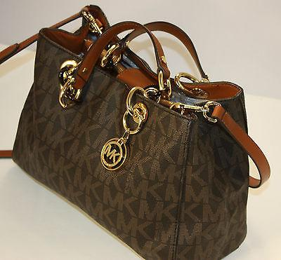 8b3f3a68b894 Product details of Authentic Michael Kors Cynthia Medium Saffiano Leather  Satchel - Brown Monogram