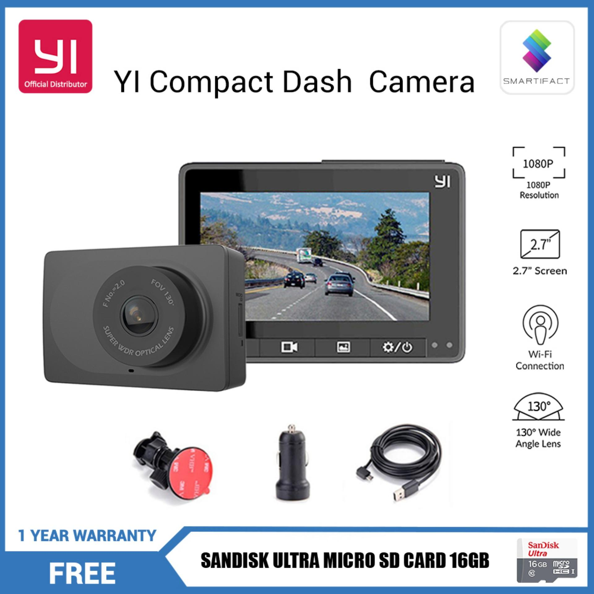 YI Compact Dash Cam 1080p Full HD Car Dashboard Camera with 2.7 inch LCD Screen 130 WDR Lens G-Sensor Night Vision Black English Version with SanDisk 16GB Micro SD Card Xiaomi YI (Smartifact)