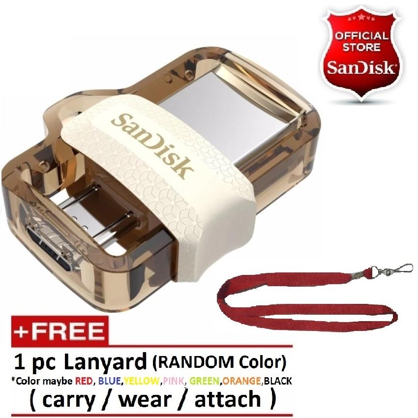 Product details of Sandisk 64 GB OTG Dual Drive M3.0 USB 3.0 for PC and Android OTG Devices GOLD w/ FREE Lanyard